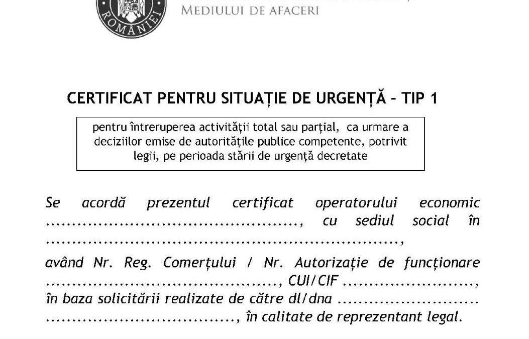 PROCEDURA DE OBȚINERE A CERTIFICATELOR PENTRU SITUAȚII DE URGENȚĂ  – Ordinul 791/2020